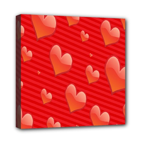 Red Hearts Mini Canvas 8  x 8
