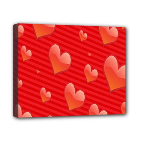 Red Hearts Canvas 10  x 8