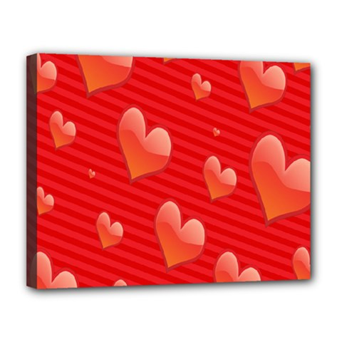 Red Hearts Canvas 14  x 11