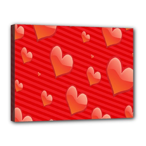 Red Hearts Canvas 16  x 12
