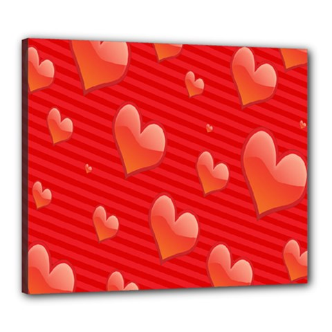Red Hearts Canvas 24  x 20