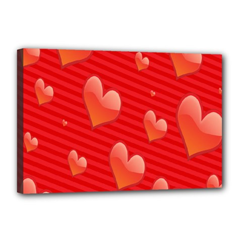 Red Hearts Canvas 18  x 12