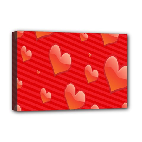 Red Hearts Deluxe Canvas 18  x 12