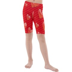 Red Hearts Kids  Mid Length Swim Shorts