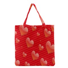 Red Hearts Grocery Tote Bag