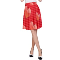 Red Hearts A-Line Skirt