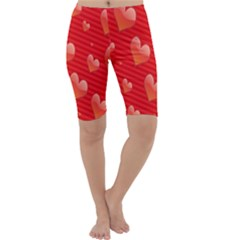 Red Hearts Cropped Leggings