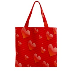 Red Hearts Zipper Grocery Tote Bag
