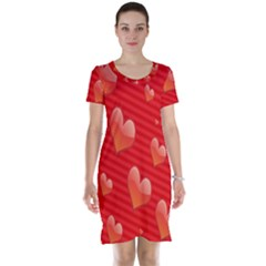 Red Hearts Short Sleeve Nightdress