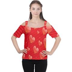 Red Hearts Women s Cutout Shoulder Tee