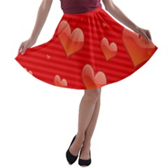 Red Hearts A Line Skater Skirt