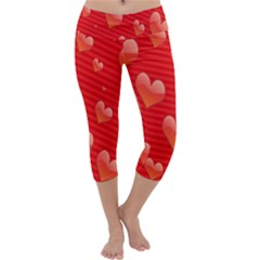 Red Hearts Capri Yoga Leggings