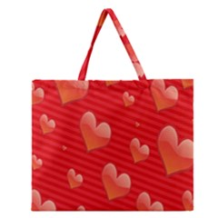 Red Hearts Zipper Large Tote Bag