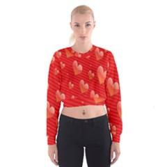 Red Hearts Women s Cropped Sweatshirt