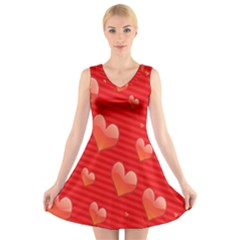 Red Hearts V Neck Sleeveless Skater Dress