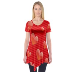 Red Hearts Short Sleeve Tunic