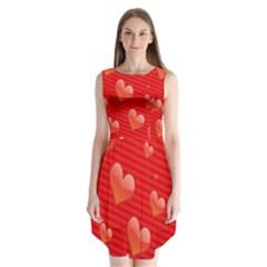 Red Hearts Sleeveless Chiffon Dress