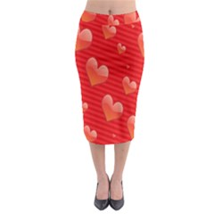 Red Hearts Midi Pencil Skirt