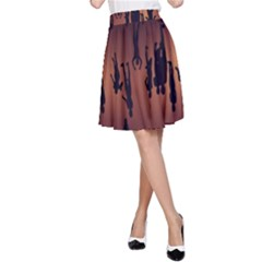 Silhouette Of Circus People A-Line Skirt