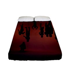 Silhouette Of Circus People Fitted Sheet (full/ Double Size)