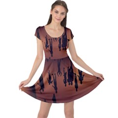 Silhouette Of Circus People Cap Sleeve Dresses
