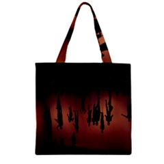 Silhouette Of Circus People Zipper Grocery Tote Bag