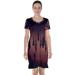 Silhouette Of Circus People Short Sleeve Nightdress