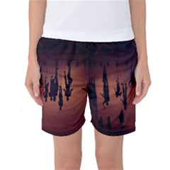 Silhouette Of Circus People Women s Basketball Shorts