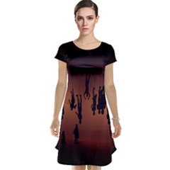 Silhouette Of Circus People Cap Sleeve Nightdress