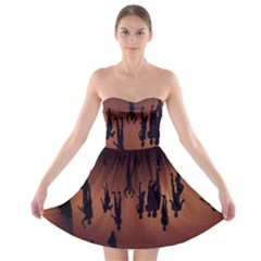 Silhouette Of Circus People Strapless Bra Top Dress