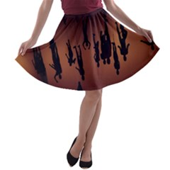 Silhouette Of Circus People A-line Skater Skirt