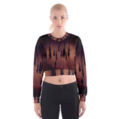 Silhouette Of Circus People Women s Cropped Sweatshirt