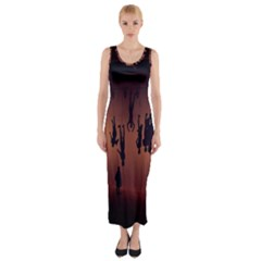 Silhouette Of Circus People Fitted Maxi Dress