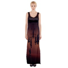 Silhouette Of Circus People Maxi Thigh Split Dress