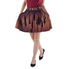 Silhouette Of Circus People A-Line Pocket Skirt