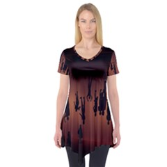 Silhouette Of Circus People Short Sleeve Tunic