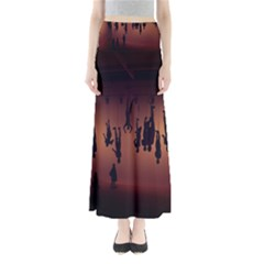 Silhouette Of Circus People Maxi Skirts