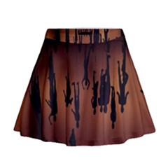 Silhouette Of Circus People Mini Flare Skirt