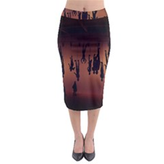 Silhouette Of Circus People Midi Pencil Skirt