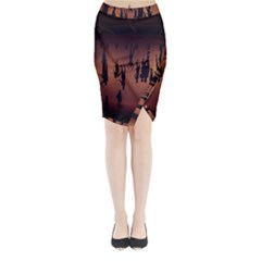 Silhouette Of Circus People Midi Wrap Pencil Skirt