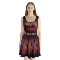 Silhouette Of Circus People Split Back Mini Dress