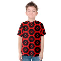 Red Bee Hive Texture Kids  Cotton Tee