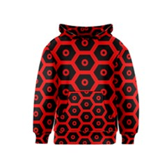 Red Bee Hive Texture Kids  Pullover Hoodie