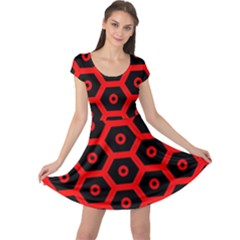Red Bee Hive Texture Cap Sleeve Dresses