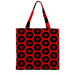 Red Bee Hive Texture Zipper Grocery Tote Bag