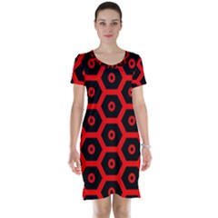 Red Bee Hive Texture Short Sleeve Nightdress