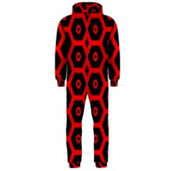 Red Bee Hive Texture Hooded Jumpsuit (Men)