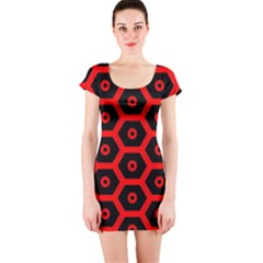 Red Bee Hive Texture Short Sleeve Bodycon Dress