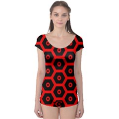 Red Bee Hive Texture Boyleg Leotard