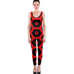 Red Bee Hive Texture Onepiece Catsuit